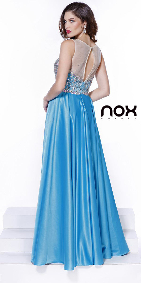 Bling Bodice Prom Satin Gown Turquoise Sheer Neckline A Line
