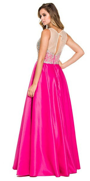 Bling Bodice Prom Satin Gown Fuchsia Sheer Neckline A Line