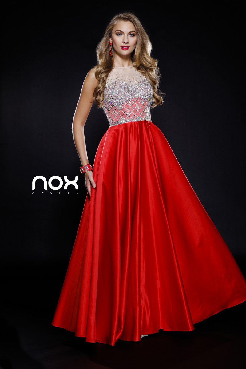 Bling Bodice Prom Satin Gown Red Sheer Neckline A Line