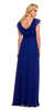 Cap Sleeve Bridesmaid Gown Royal Blue A Line Chiffon V Neck