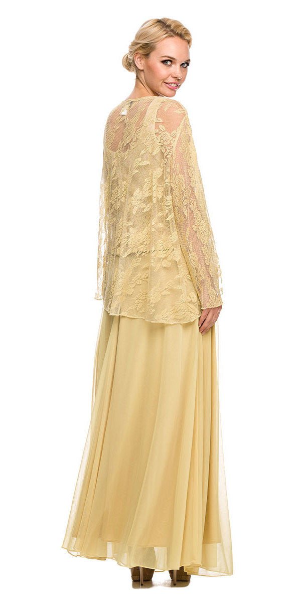 Chiffon Plus Size Mother of Bride Dress Gold Includes Jacket ...