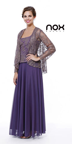 Chiffon Plus Size Mother of Bride Dress Plum/Gold Includes Jacket
