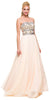 Corset Back Prom Gown Nude Chiffon A Line Strapless