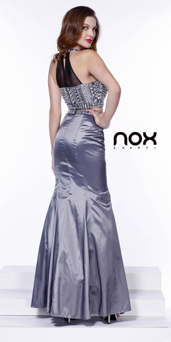 Floor Length Mermaid Prom Gown Silver Taffeta Two Piece Jewels