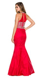Floor Length Mermaid Prom Gown Red Taffeta Two Piece Jewels