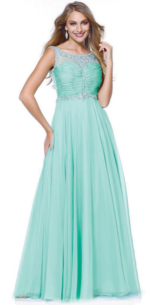 Formal A Line Prom Gown Mint Green Chiffon A Line Bateau Neck
