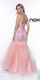 Formal Trumpet Gown Bashful Pink Lace/Embroidery Sweetheart Back View