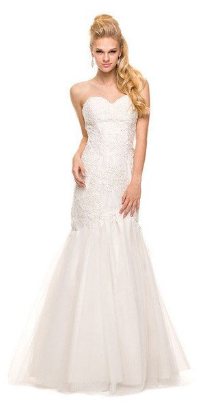 Formal Trumpet Gown Ivory Lace/Embroidery Sweetheart