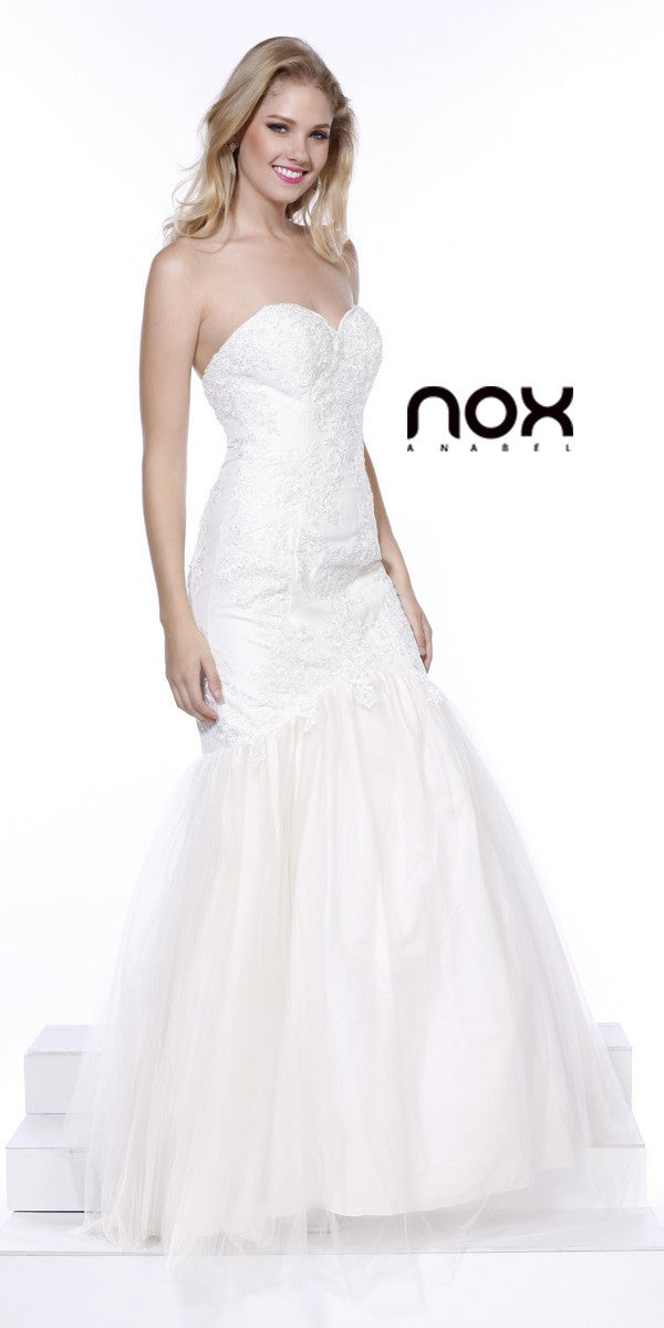 Formal Trumpet Gown Off White Lace/Embroidery Sweetheart