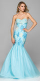 Formal Trumpet Gown Turquoise/White Lace/Embroidery Sweetheart