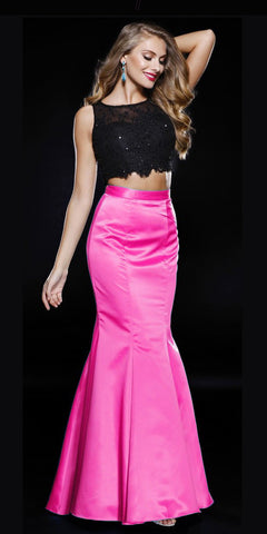 Fuchsia Black Two Piece Mermaid Prom Gown Lace Top Satin Skirt