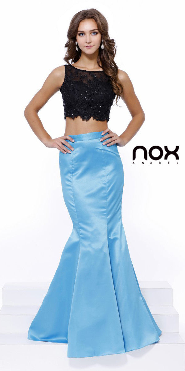 Turquoise Black Two Piece Mermaid Prom Gown Lace Top Satin Skirt ...