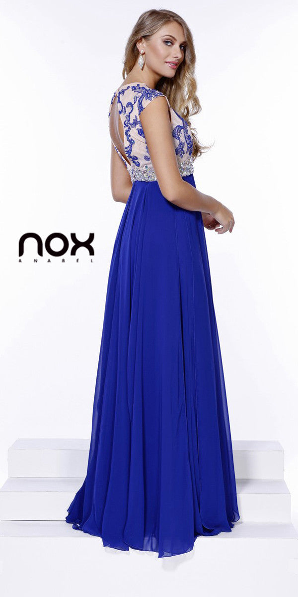 Gorgeous Chiffon A Line Prom Gown Royal Blue Cap Sleeves