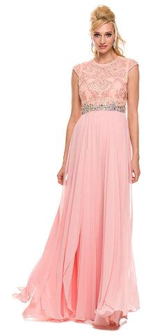 Gorgeous Chiffon A Line Prom Gown Bashful Pink Cap Sleeves
