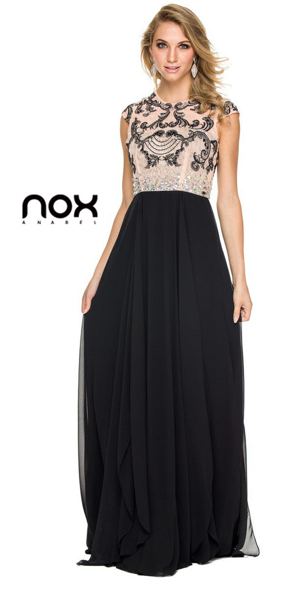 Gorgeous Chiffon A Line Prom Gown Black Cap Sleeves