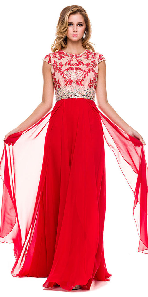 Gorgeous Chiffon A Line Prom Gown Red Cap Sleeves