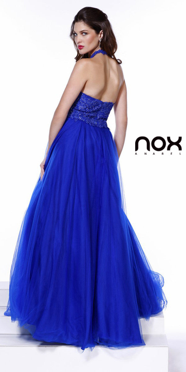 Halter Prom Gown Royal Blue Tulle Skirt Poofy A Line Lace Bodice