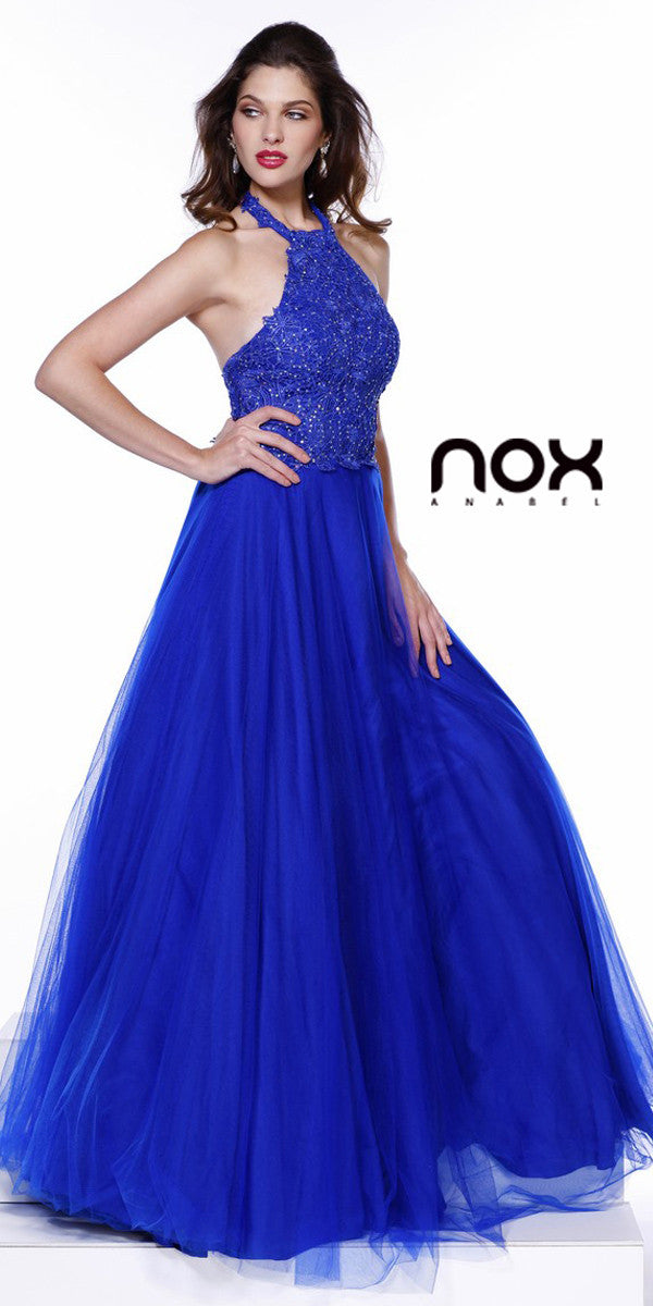 Halter Prom Gown Royal Blue Tulle Skirt Poofy A Line Lace Bodicehiffon Long Prom Gown Mint Green Cap Sleeves Embroidery Top