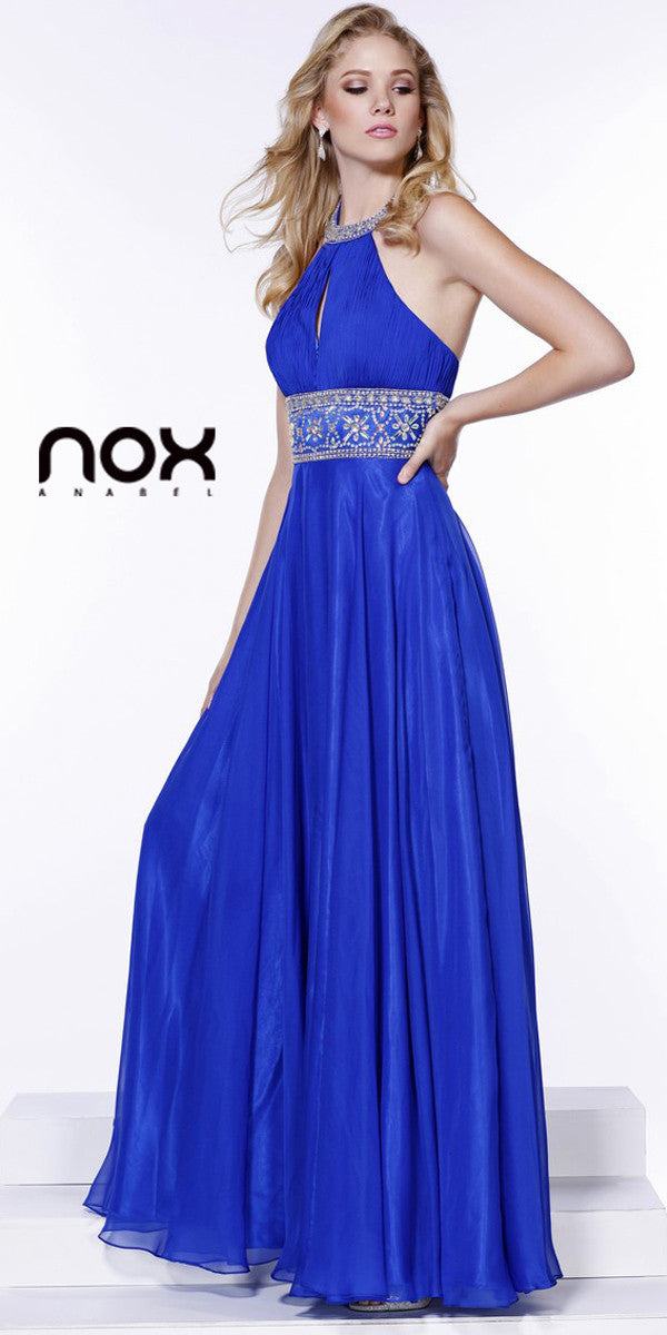 Halter Prom Gown Royal Blue A Line Floor Length Keyhole Front