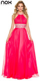 Halter Prom Gown Watermelon A Line Floor Length Keyhole Front