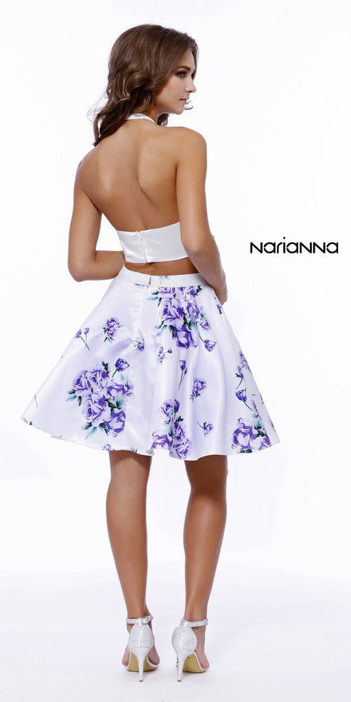 Halter Two Piece Prom Dress Satin Floral Print Skirt
