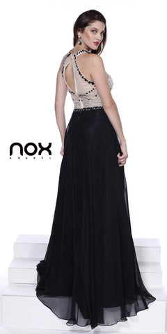 High Neck Open Back Floor Length Dress Black Jewel Sheer Bodice