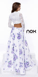 High Neck Two Piece Floor Length Print Dress Long Sleeve Lace