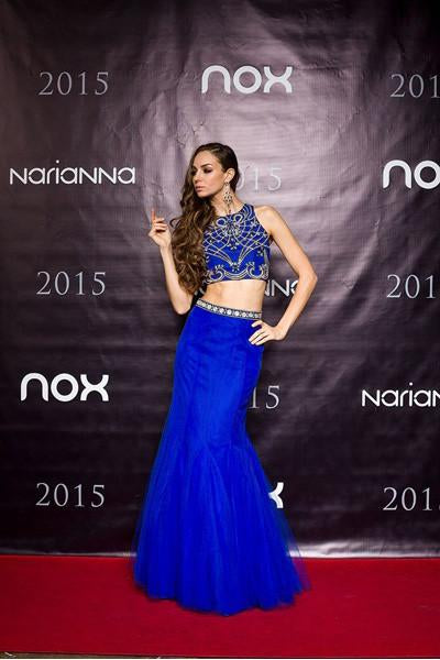 Hot Trend Two Piece Prom Gown Royal Blue Mermaid Tulle Skirt