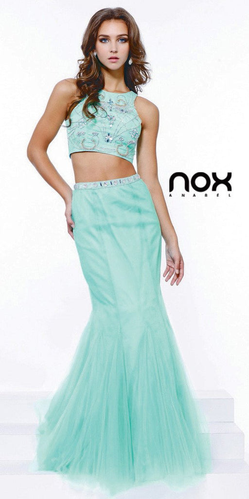 Hot Trend Two Piece Prom Gown Mint Green Mermaid Tulle Skirt