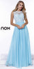 Lace Bodice Floor Length Prom Gown Aqua Empire Chiffon A Line