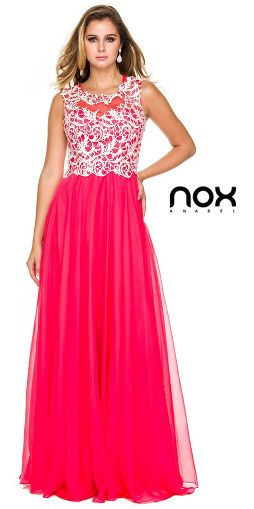 Lace Bodice Floor Length Prom Gown Watermelon Empire Chiffon A Line
