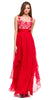 Long Layered Chiffon Prom Gown Red Illusion Neck Embroidery