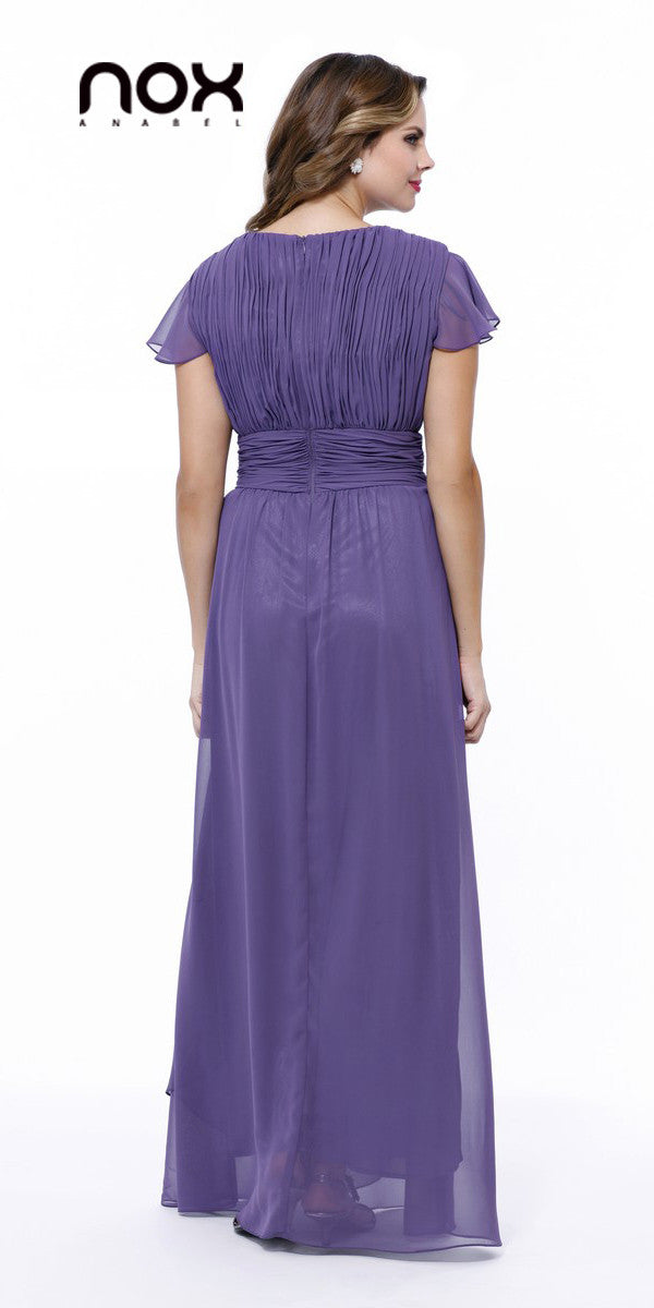 Long Mother of Bride Dress Violet V Neck Short Sleeves
