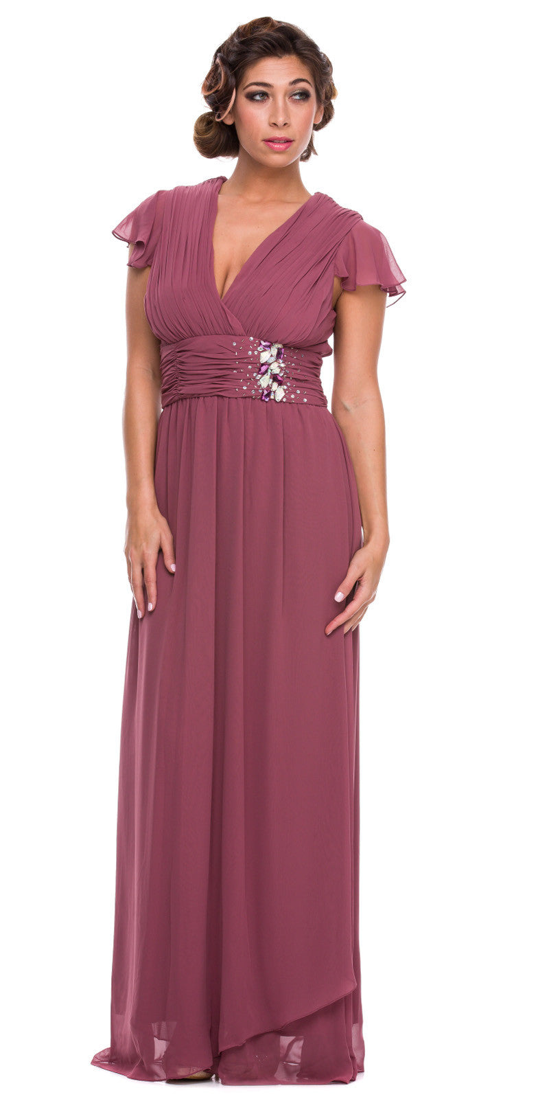 Long Mother of Bride Dress Rosewood V Neck Short Sleeves