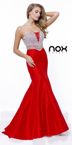 Long Open Back Strapless Mermaid Dress Red Jeweled Bodice