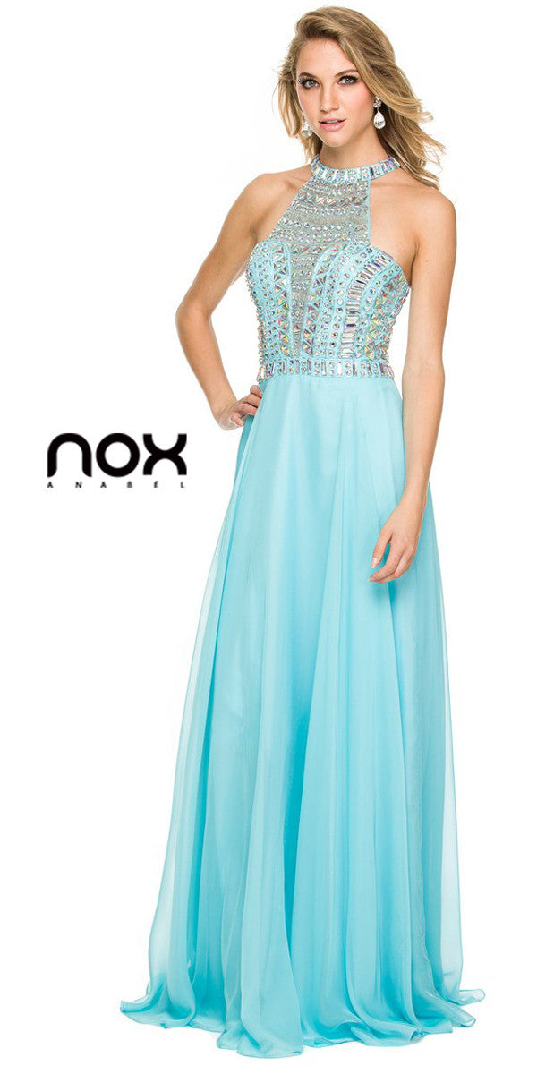 Long Pageant Gown Aqua High Neckline Chiffon Jewel Bodice