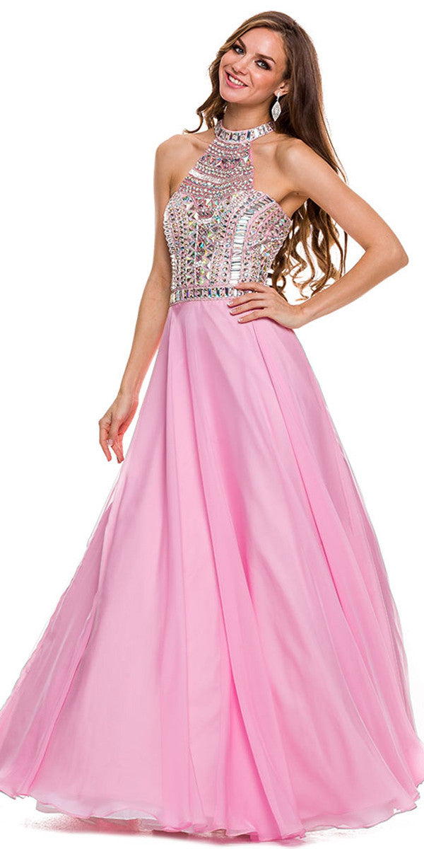 Long Pageant Gown Baby Pink High Neckline Chiffon Jewel Bodice