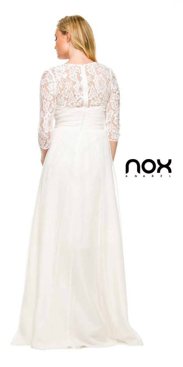 Long Plus Size Ivory Semi Formal Gown Lace Mid Sleeves ...