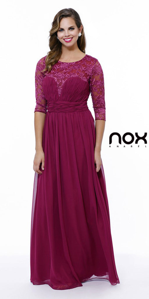Long Plus Size Burgundy Semi Formal Gown Lace Mid Sleeves