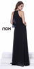 Long Sleeveless Popover Prom Dress Black Beaded High Neck