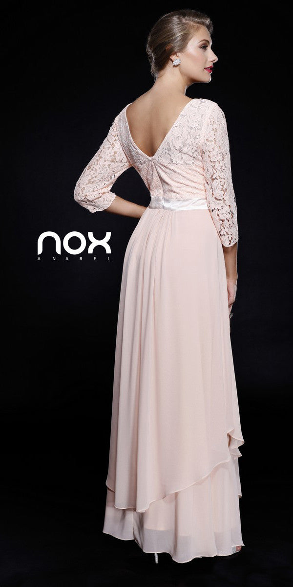 Mid Length Lace Sleeves Peach Dress Chiffon Skirt Long