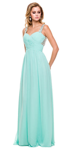 Mint Green Prom Chiffon Gown Floor Length Rhinestone Straps