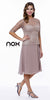Mother of Bride Blush Tan Knee Length Dress Chiffon/Lace