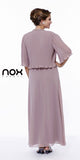 Mother of Groom Blush/Tan Ankle Length Dress Plus Size Back View