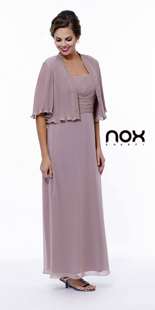 Mother of Groom Blush/Tan Ankle Length Dress Plus Size