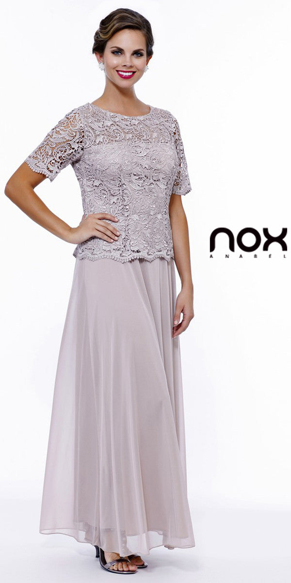 Mother of Groom Gown Sand Embroidery Bodice Chiffon Skirt