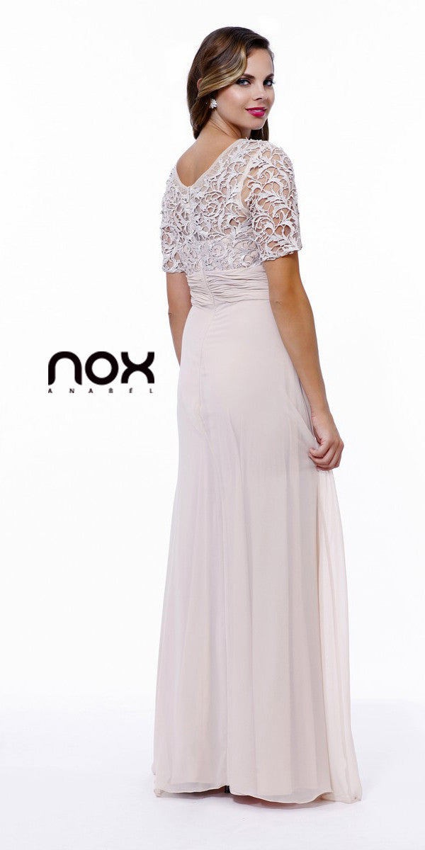 Mother of Groom V Neck Chiffon/Lace Dress Sand Short Sleeve