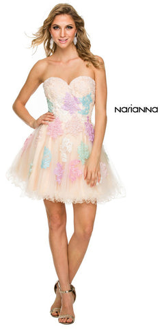Multi Color Lace Embellished Strapless Sweetheart Homecoming Dress