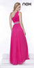 One Strap Fuchsia Prom Gown Chiffon Ruched Top Beaded Waist Back View