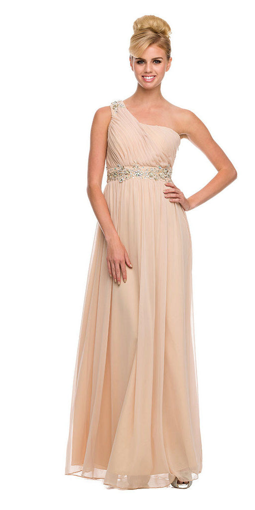 One Strap Gold Prom Gown Chiffon Ruched Top Beaded Waist